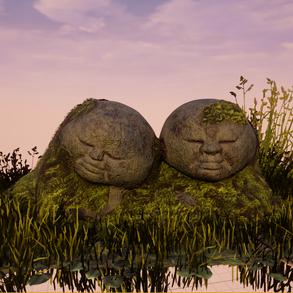 Cuddling Jizo Statues
