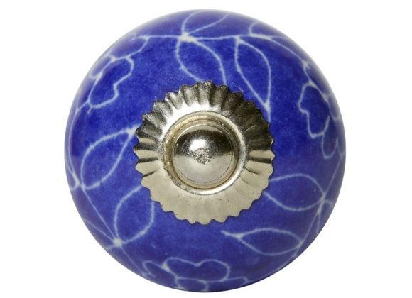 Ceramic Knob - Royal Blue Leaf Outline