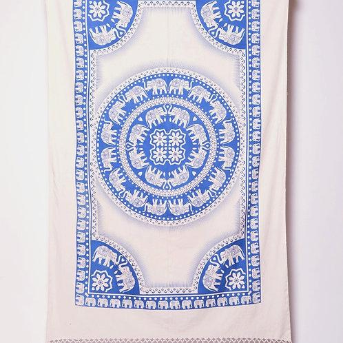 Cotton Cloth - Elephant Design Blue / White