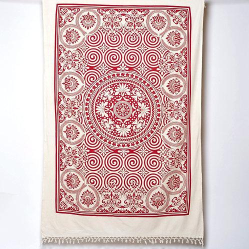 Cotton Cloth - Swirls Design Red