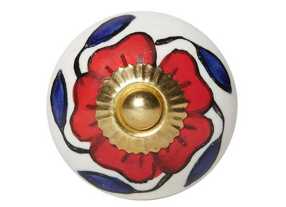 Ceramic Knobs - Red Flower / Blue Leaves