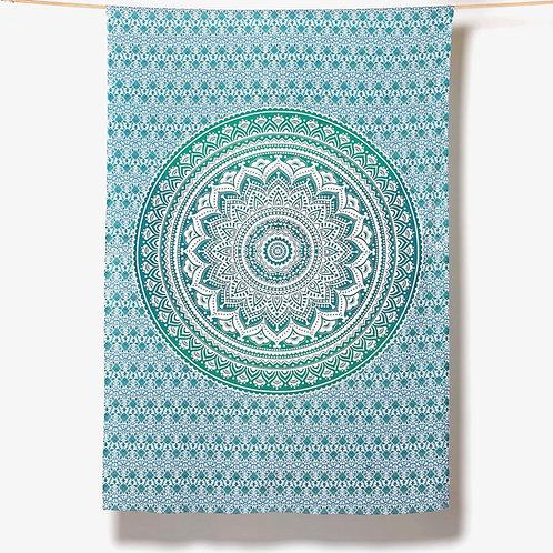Mandala Cloth - Pretty Design    Teal/White