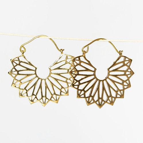 Fan Earrings - Brass