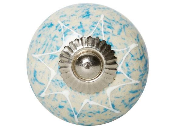 Ceramic Knob - Natural / Blue White Star
