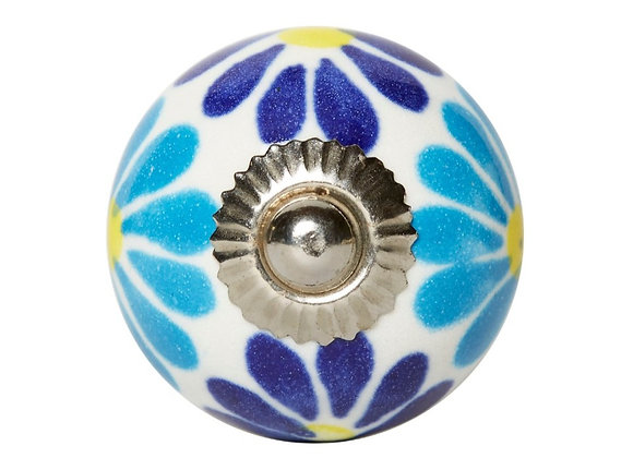 Ceramic Knob - Blue Tones Flower Design