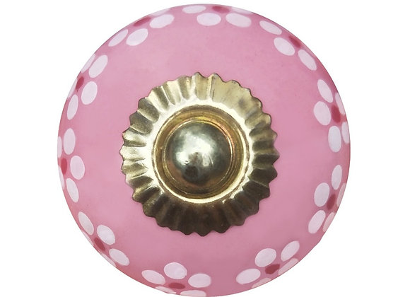 Ceramic Knob - Pink / White Daisies