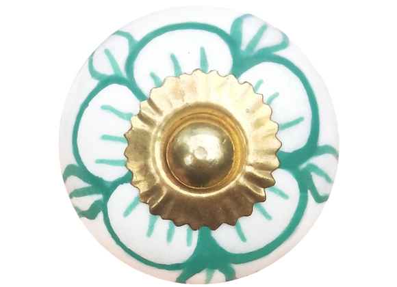 Ceramic Knob - White / Green Flower
