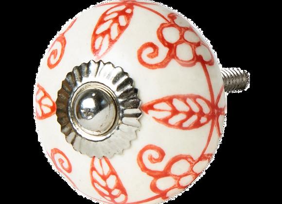 Ceramic Knob - Red Leaf Pattern