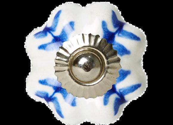 Ceramic Knob - White / Blue Painted
