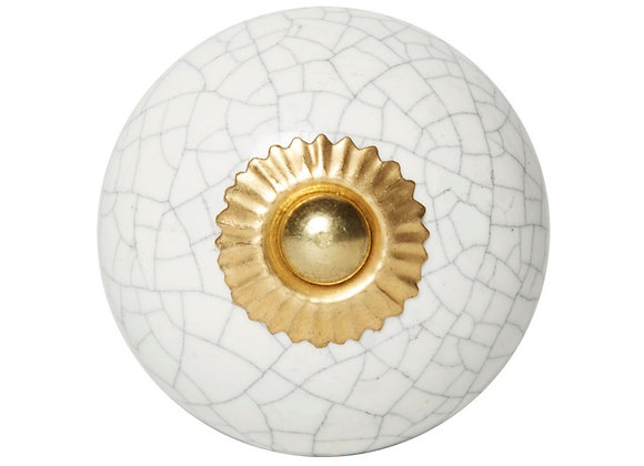 Ceramic Knob - White Cracked Design