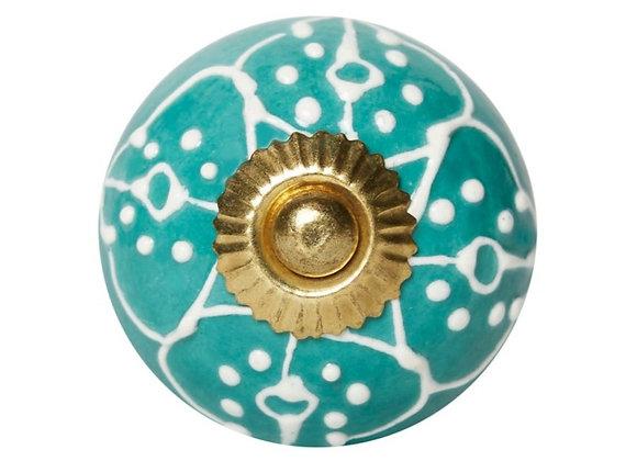 Ceramic Knobs - Turquoise / White Textured