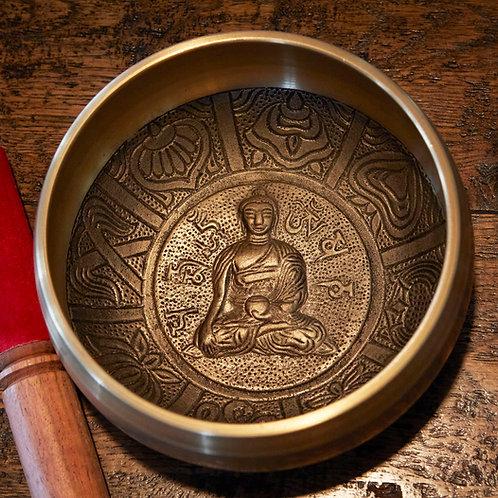 Tibetan Singing Bowl - Gold - Buddha  - 15cm diameter
