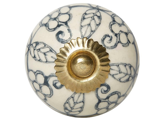 Ceramic Knob - Natural / Blue Grey Leaf Design