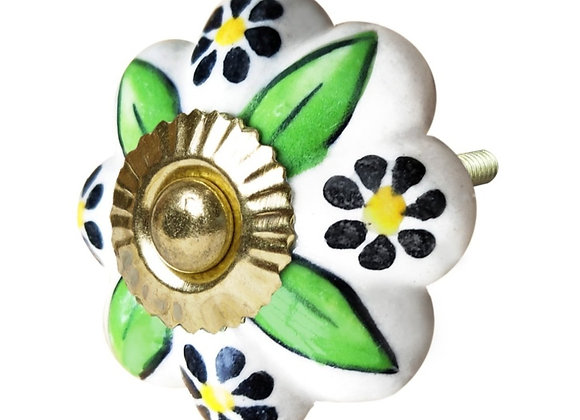 Ceramic Knob - Green Leaves Retro Design