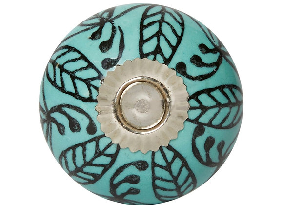Ceramic Knob - Turquoise / Black Leaves