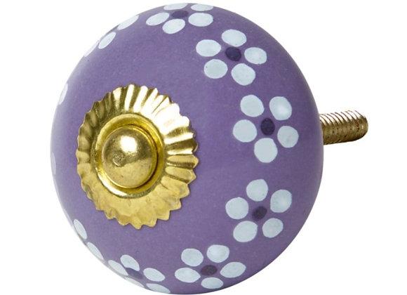 Ceramic Knob - Purple / White Daisies