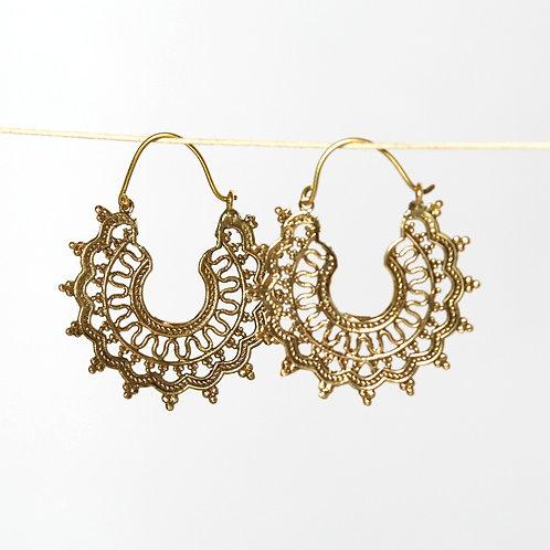 Mandala Earrings - Brass