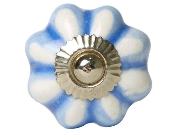 Ceramic Knob - Soft Blue / White Pumkin Shape