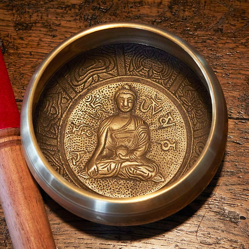 Tibetan Singing Bowl - Gold - Buddha  - 13cm diameter