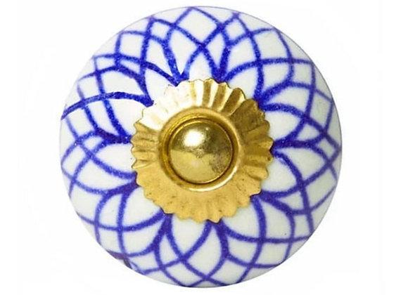 Ceramic Knob - Blue / White Geometry