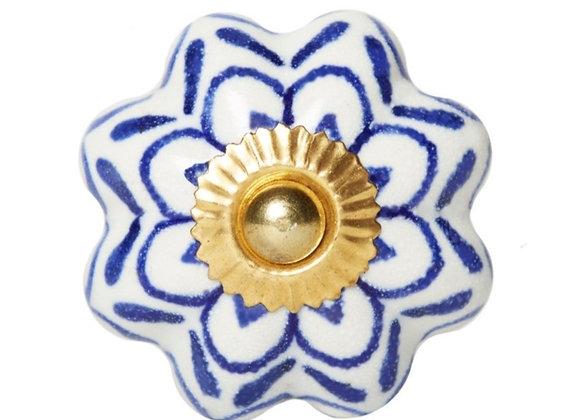 Ceramic Knobs - Blue / White Pumpkin Shape
