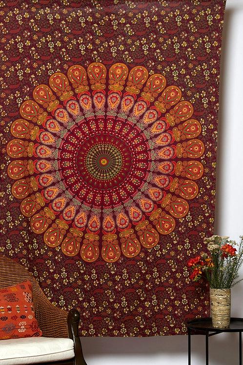 Mandala Cloth - Peacock Design   Gold/Maroon