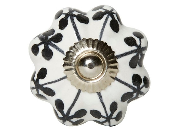 Ceramic Knobs - Black / White Pumpkin Shape
