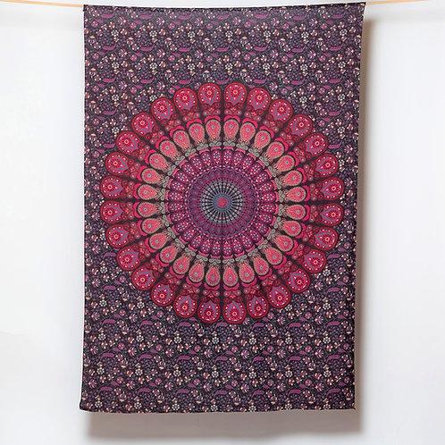 Mandala Cloth - Peacock Design   Pink/Purple