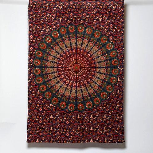 Mandala Cloth - Peacock Design  Orange/Blue