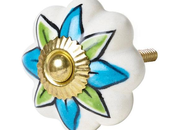 Ceramic Knob - Blue / Green Flower