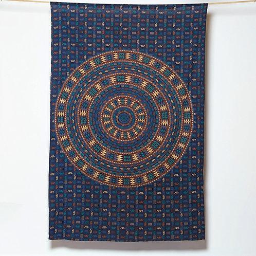 Mandala - Aztec Design - Blue/Brown