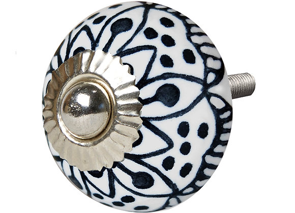 Ceramic Knob - Black / White Abstract Flower