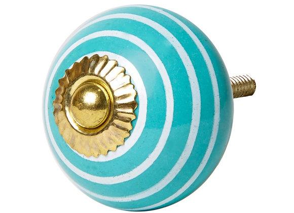 Ceramic Knob - Turquoise / White Stripe