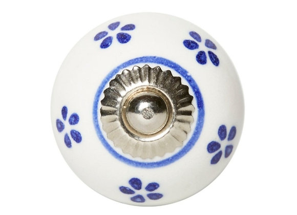 Ceramic Knob - White / Blue Dots