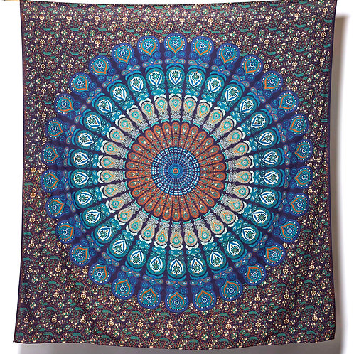 Mandala Cloth - Peacock Design   Turquoise/Blue