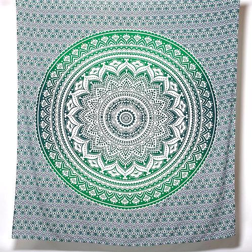 Mandala Cloth  -  Pretty Design   Green/White
