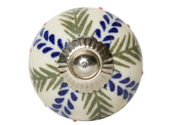 Ceramic Knob - Blue / Green Fern Design