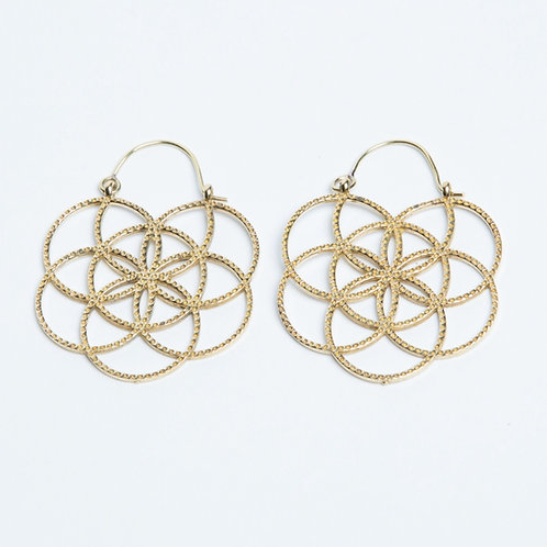 Seed of Life Earrings - Brass