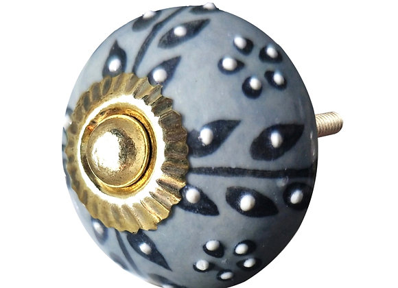 Ceramic Knob - Dark Grey Textured Pearl