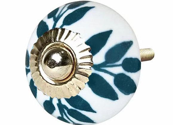 Ceramic Knob -Teal / White   Leaves
