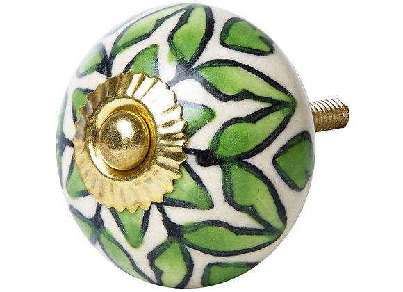 Ceramic Knob - Green / White Lattice Design