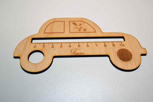 Règle maternelle en bois voiture personnalisable