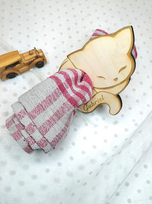 Rond de serviette en bois personnalisable