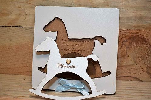 Faire-part en bois blanc cheval à bascule puzzle