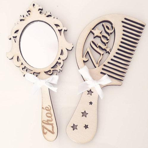 Ensemble miroir et peigne bébé personnalisables
