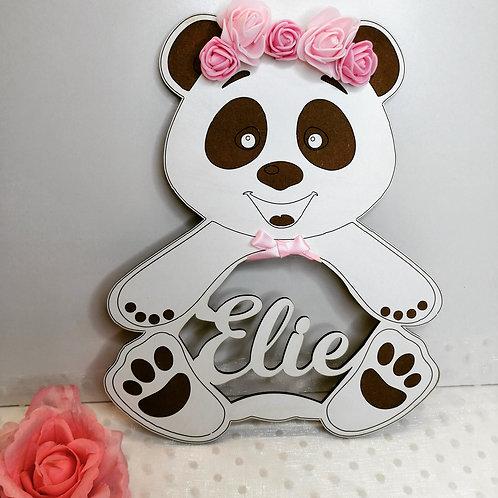 Décoration Panda en bois blanc