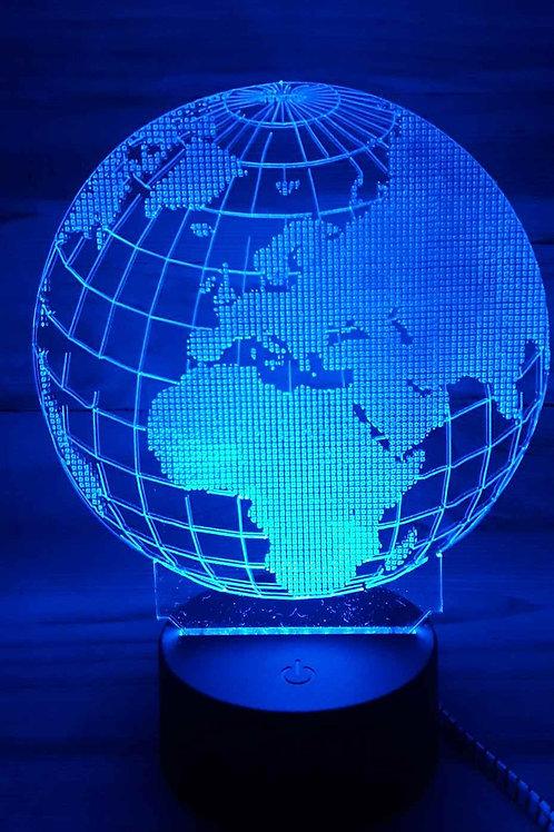 Lampe illusion 3D globe terrestre