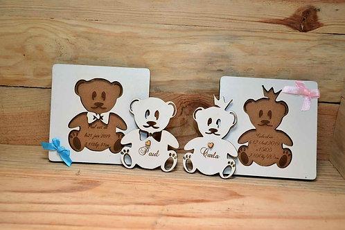 Faire-part en bois blanc ourson puzzle