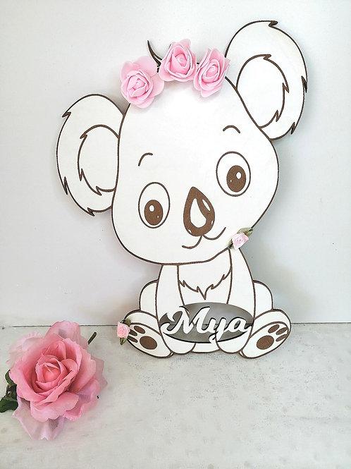 Décoration koala en bois blanc