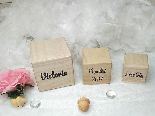 Lot de cubes en bois personnalisables